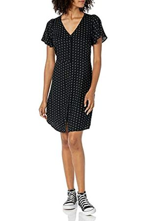 Goodthreads Fluid Twill Button-Front Fit-And-Flare Dress Dresses, Black Medallion Print, XS