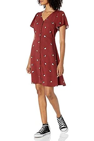 Goodthreads Fluid Twill Button-Front Fit-And-Flare Dress Dresses, Russet Floral, XXL
