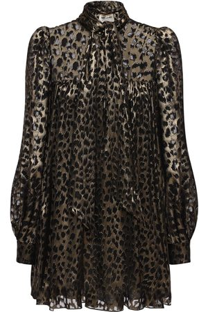 Saint Laurent Donna Vestiti - Abito In Raso Trasparente Leopard