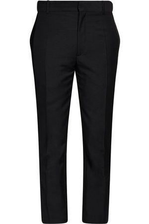 Alexander McQueen Pantaloni In Lana E Mohair Con Velluto 17cm