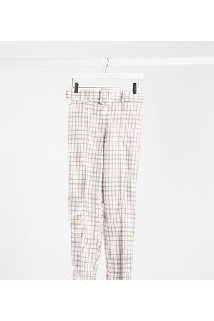 ASOS ASOS DESIGN Petite - Pantaloni a sigaretta con vita alta e cintura a quadretti pastello