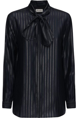 Saint Laurent Donna Camicie - Camicia In Seta E Lurex Fil Coupé