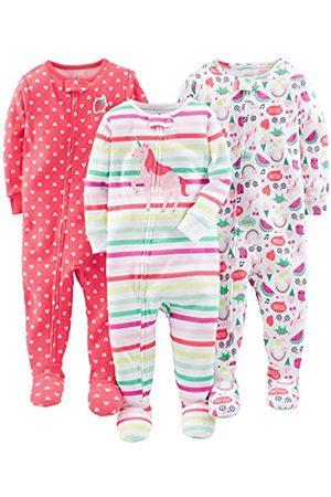 Simple Joys by Carter's Confezione da 3 pigiami in cotone con piedini ,Rainbow,strawberry,multistripe Unicorn ,18 Months