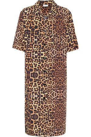 DRIES VAN NOTEN Abito midi a stampa leopardo