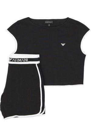 Emporio Armani T-shirt In Cotone E Shorts In Felpa