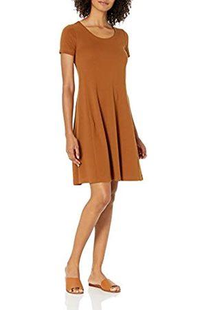Daily Ritual Donna Vestiti estivi - Pima Cotton And Modal Short-Sleeve Scoop Neck Dress Dresses, Caramel, US