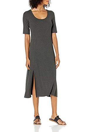 Daily Ritual Robe en Élasthanne À Fines Nervures et col Rond avec Aération. Dresses, Carbone, US XXL