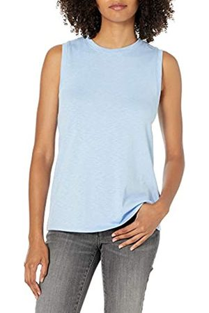 Daily Ritual Cotton Modal Stretch Slub Muscle-Sleeve Swing Tunic Shirts, Lago, US XL