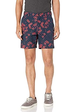 "Amazon Slim-Fit Lightweight Stretch 7"" Short Flat-Front-Shorts, Motivo Floreale Navy, 36"