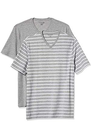 Amazon 2-Pack Loose-Fit V-Neck T-Shirt Fashion-t-Shirts, Grey Heather And White Brennan Stripe/Grey Heather, US S
