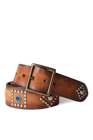 RRL Cintura in pelle grezza con borchie