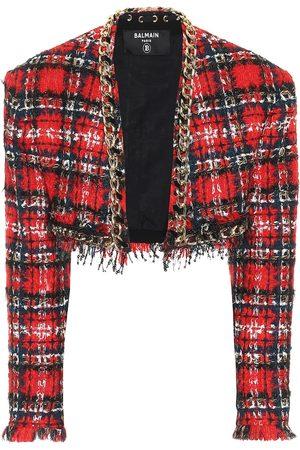 Balmain Giacca cropped a quadri in tweed