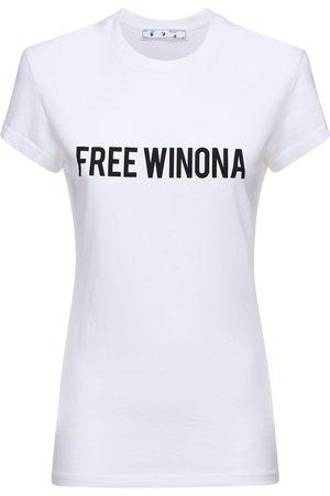"""OFF-WHITE T-shirt """"free Winona"""" In Jersey Di Cotone"""