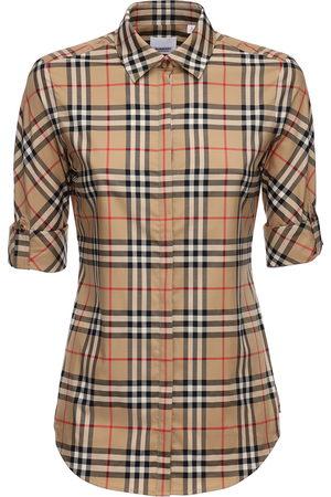 Burberry Camicia In Misto Cotone Check Stretch