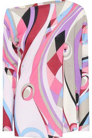 Emilio Pucci Donna Top - Top a stampa in jersey di lana