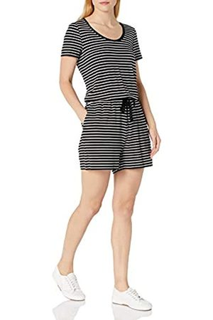 Amazon Short-Sleeve Scoop-Neck Romper Rompers, Black Thin Stripe, US M
