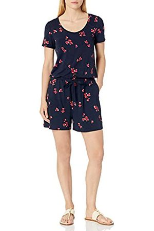 Amazon Short-Sleeve Scoop-Neck Romper Rompers, Navy Red Tossed Tulip, US XXL