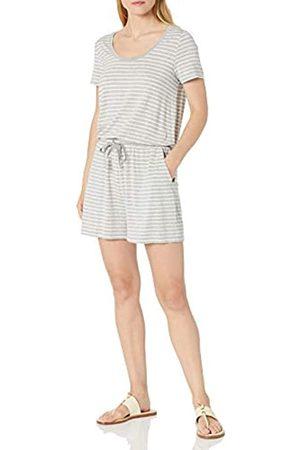 Amazon Short-Sleeve Scoop-Neck Romper Rompers, Heather Grey Thin Stripe, US L