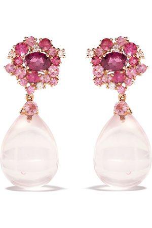 """Brumani """"Orecchini pendenti Baoba Bubbles in 18kt con diamanti, zaffiri e quarzo"""" - Rose gold and pink"""