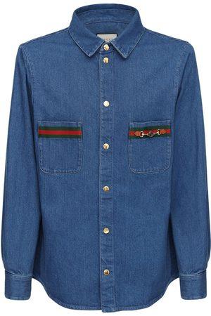 Gucci Camicia In Denim Di Cotone Con Web E Gg