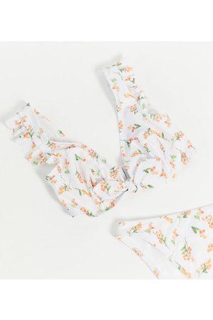 Peek & Beau Esclusiva Coppe Grandi - Top bikini con ferretto e laccetti davanti a fiori corallo