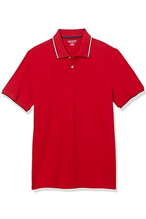 Amazon Polo Aderente in Cotone piqué Shirts, con Punta Rossa/ Marino e Bianca, US M