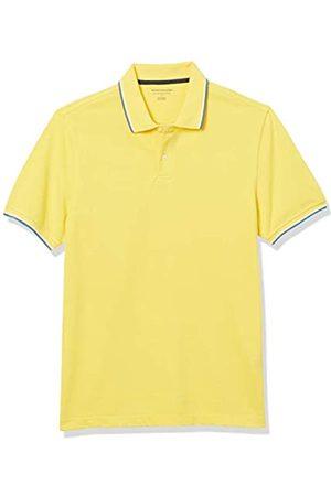 Amazon Polo Aderente in Cotone piqué Shirts, Punta Gialla/ e Bianca, US
