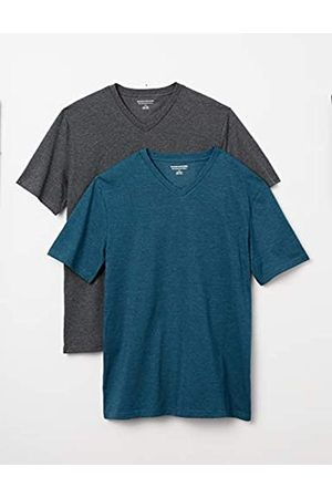 Amazon 2-Pack Slim-Fit V-Neck T-Shirt Fashion-t-Shirts, Teal Heather/Charcoal Heather, US L