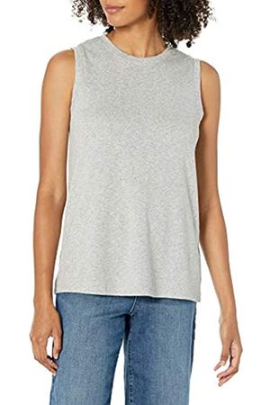 Daily Ritual Cotton Modal Stretch Slub Muscle-Sleeve Swing Tunic Athletic-Shirts, Light Heather Grey, US S