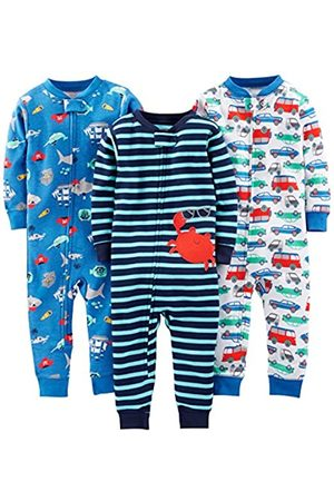 Simple Joys by Carter's Baby and Toddler Pigiama in cotone senza piedi, confezione da 3 ,Crab/Sea Creatures/Cars ,18 Months