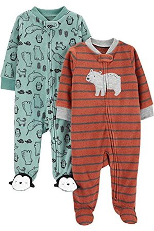 Simple Joys by Carter's Confezione da 2 Tasche in Pile con Cerniera A 2 Vie, per Dormire E Giocare. Infant-And-Toddler-Sleepers, Orso/Misto, 0-3 Months