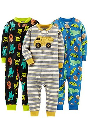 Simple Joys by Carter's Bambino Pigiami - 3-Pack Snug Fit Footless Cotton Pajamas Pajama Set, Monsters/Dino/Construction, 2T