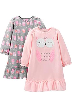 Simple Joys by Carter's Bambina Pigiami - 2-Pack Fleece Nightgowns Nightgown, Grey/Pink Owls, 8/10