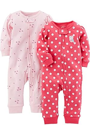 Simple Joys by Carter's Bambina Tute corte - 2-Pack Cotton Footless Sleep And Play Footie, Pink Dragonfly/DOT, Newborn