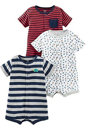 Simple Joys by Carter's Neonati Pagliaccetti - Baby - Confezione da 3 pagliaccetti ,Red Stripe/White Sailboats/Navy Stripe ,0-3 Months