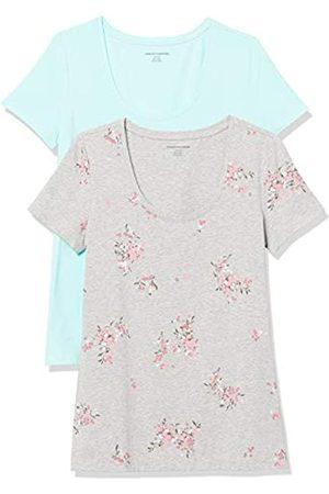 Amazon Confezione da 2 Maglietta a Maniche Corte con Scollo Rotondo Fashion-t-Shirts, Acqua Chiara/ Erba Floreale, US XL