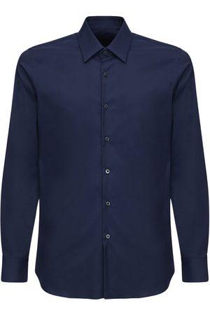 Prada Camicia Slim Fit In Popeline Di Cotone Stretch