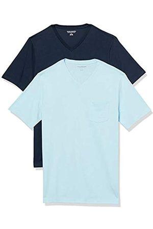 Amazon 2-Pack Slim-Fit V-Neck Pocket T-Shirt Fashion-t-Shirts, Azzurro/ Scuro, US