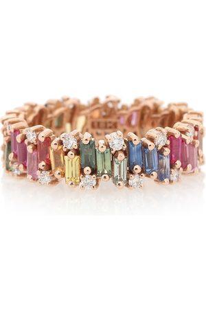 Suzanne Kalan Donna Anelli - Anello Rainbow Fireworks in oro rosa 18kt con diamanti e zaffiri