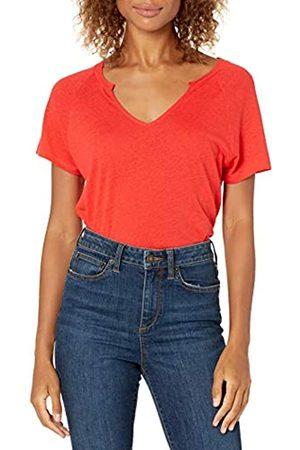 Goodthreads Lino Modal Jersey Manica Corta Maglia Slit-Neck Fashion-t-Shirts, Papavero Rosso, XXL