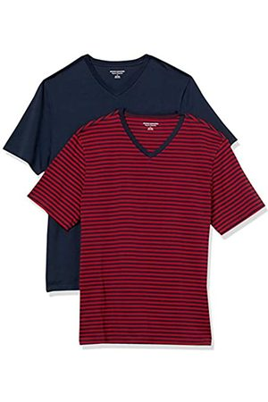 Amazon 2-Pack Loose-Fit V-Neck T-Shirt Fashion-t-Shirts, Red-Navy Stripe/Navy, US M