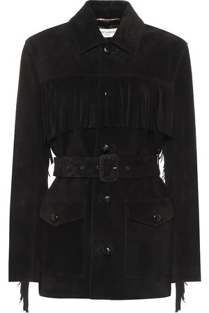 Saint Laurent Giacca in suede con frange