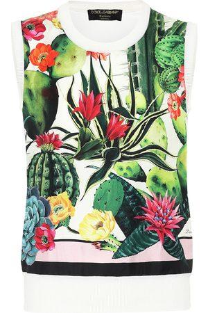 Dolce & Gabbana Esclusiva Mytheresa - Gilet a stampa in seta e cashmere