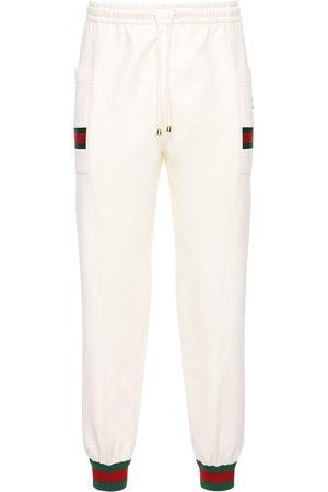 Gucci Pantaloni In Cotone Con Web E Gg