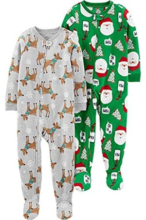 Simple Joys by Carter's 2-Pack Fleece Footed Sleep And Play Infant Toddler-Sleepers, Blue Sloth/Heather Grey Santa, 2T