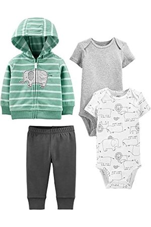 Simple Joys by Carter's 4-Piece Jacket, Pant, And Bodysuit Set Layette, Mint Elephant, 3-6 Months