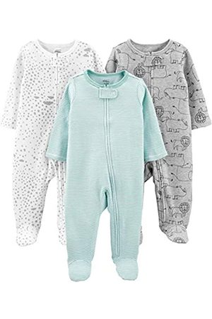 Simple Joys by Carter's 3-Pack Sleep Play Infant-And-Toddler-Sleepers, Mint/Stripes/Heather Grey/Prints, 3-6 Months