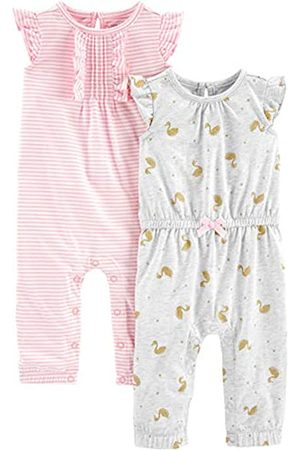 Simple Joys by Carter's 2-Pack Jumpsuits Footie, Pink Stripe/Gold Swan, Newborn