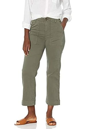 Goodthreads Stretch Chino Wide-Leg Military Crop Pant Pants, Dusty Olive, US 16
