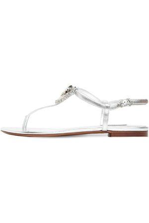 Dolce & Gabbana Sandali In Pelle Metallizzata Con Cristalli 10mm